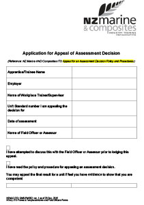 Appeal an Assessment Decision Form